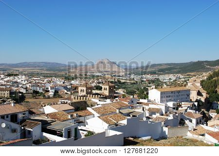 Towers of Carmelites College (Colegio de Carmelitas) with the lovers rock (La Pena de los Enamorados) to the rear Antequera Malaga Province Andalucia Spain Western Europe.