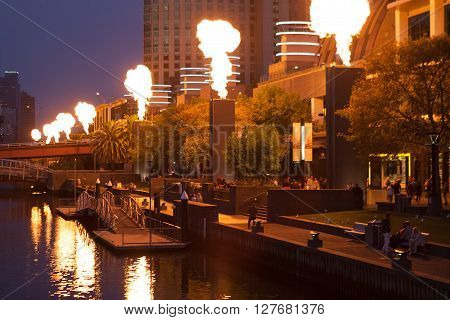 Crown Casino Fire Show At Night