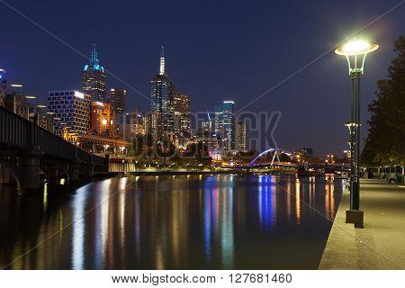 Melbourne Cbd Nightscape With Southbank Footbridge And Flinders Station