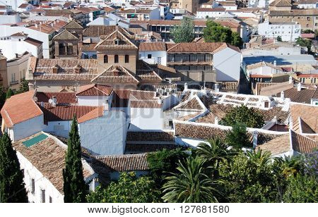 View over part of the town rooftops Antequera Malaga Province Andalucia Spain Western Europe.