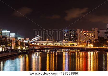 Melbourne Exhibition Centre Sign Nightscape