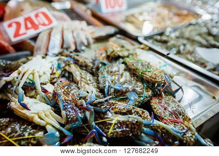 Fresh blue crab at a seafood market, Phillipines