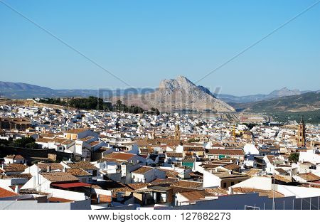 View over rooftops towards the Lovers Rock (Pena de los Enamorados) Antequera Malaga Province Andalucia Spain Western Europe.