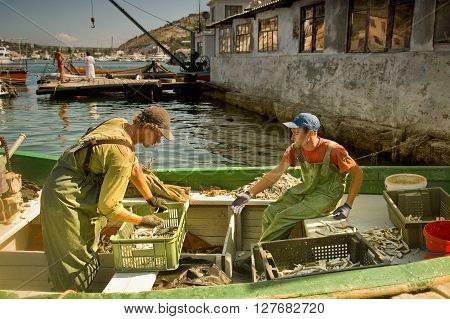 BALAKLAVA, CRIMEA, UKRAINE - JULY 1: Two young fishermen sort the catch in crates on fishing boat July 30, 2011 in Balaklava, Ukraine. Fishing is one of the main sources of income in this coastal town