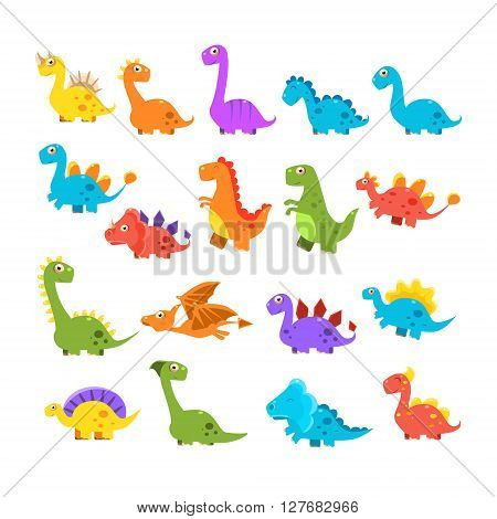 Cute Cartoon Dinosaurs Set Of Isolated Colorful Flat Vector Illustrations On White Background In Childish Manner