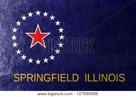 Flag Of Springfield, Illinois, Painted On Leather Texture