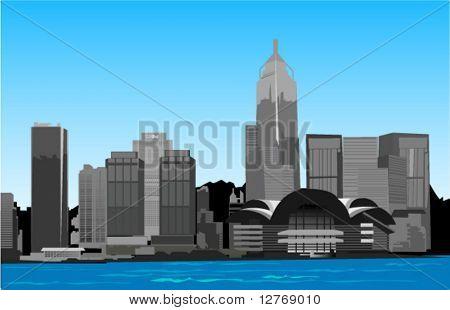 Hongkong Urban Scene - Vector