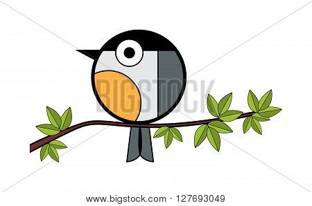 one tit sitting on a tree branch. vector illustration on white background