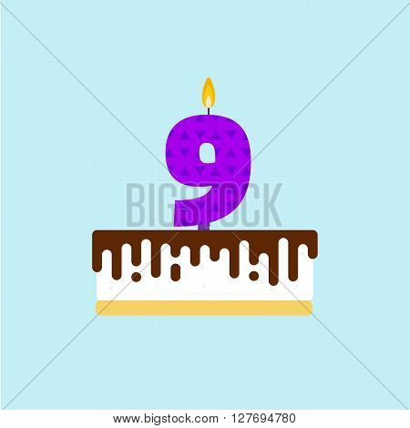 Vector birthday cake with a candle number 9 in flat style. Icon illustration of torte. Souffle with chocolate icing. For birthday party invitation and cards design. Ninth birthday celebration.