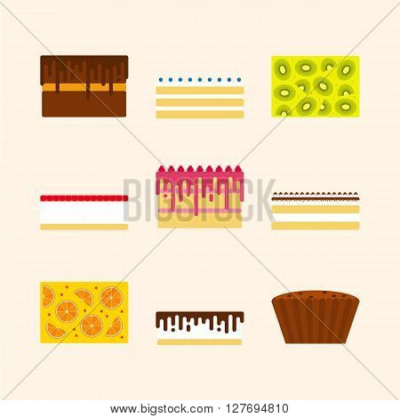Vector illustrations set of birthday cakes in simple geometric flat style. Icons of different pies tortes desserts. For party invitation and cards menu design.