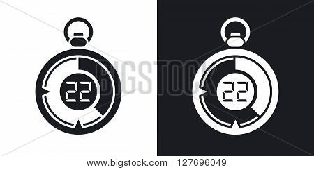 Stopwatch icon stock vector. Two-tone version on black and white background