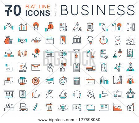 Set vector line icons in flat design business finance and teamwork with elements for mobile concepts and web apps. Collection modern infographic logo and pictogram.