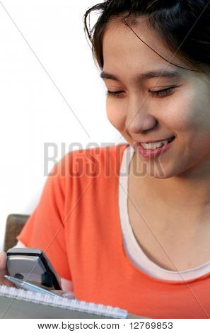 Asian Female Student Texting