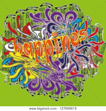 Drawing bright colors Holi abstraction Illustration abstraction bright colors of Holi on a light green background with the word Happiness in the style of primitivism for decoration and design