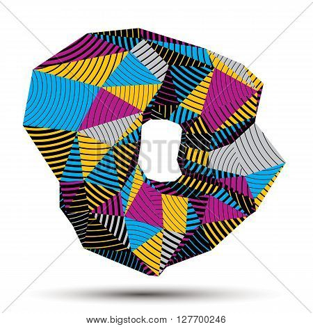 Asymmetric 3D Abstract Striped Object, Colorful Geometric Vector Spatial Form. Render And Modeling.