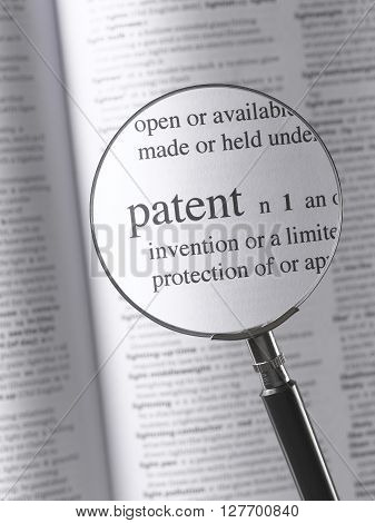 Magnifying Glass and dictionary Highlighting patent text