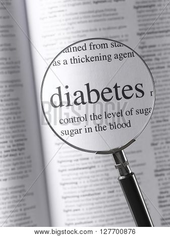 Magnifying Glass and dictionary Highlighting diabetes text