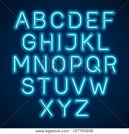 Blue neon light alphabet. Vector.