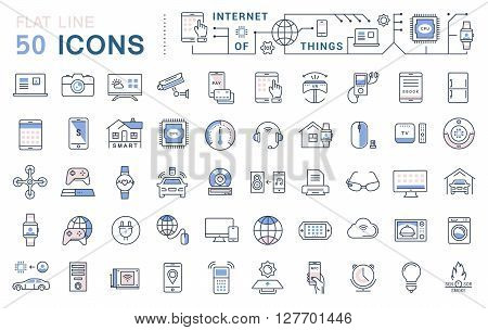 Set vector line icons in flat design internet of things and smart gadgets with elements for mobile concepts and web apps. Collection modern infographic logo and pictogram.