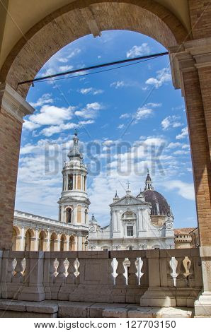 Ancona, Italy, 20 June 2015: a still of Loreto's Shrine of the Holy House taken from one of the arches of the balcony upstairs