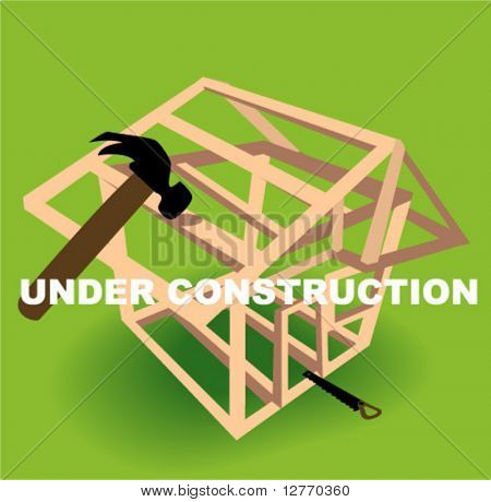 House Under Construction - Vector
