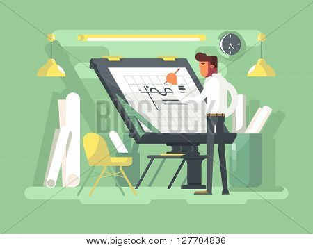 Engineer project draws. Plan drawing architect, sketch architecture design. Vector illustration