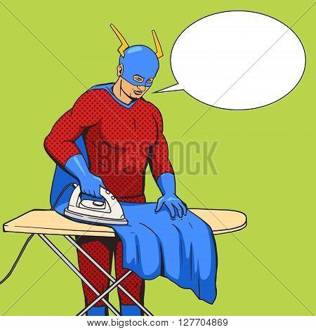 Superhero iron mantle cartoon pop art vector illustration. Human vintage retro style.