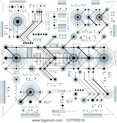 Technical Drawing With Dashed Lines And Geometric Shapes, Vector Futuristic Technology Wallpaper, En