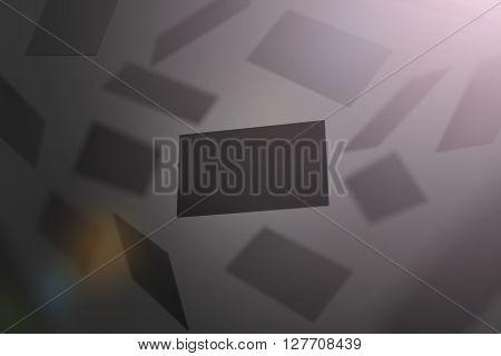 Blank black business cards falling, 3d rendering. Namecard design mockup. Visiting clear dark cards mock up presentation. Calling card template for company branding name, phone number, email address.