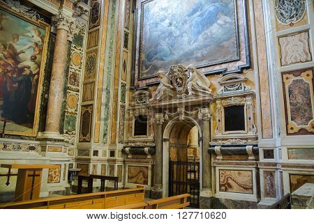 ROME, ITALY - APRIL 8, 2016:  Interior of the church