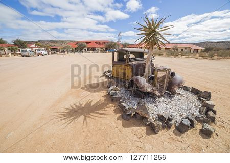 FISH RIVER CANYON NAMIBIA - SEPTEMBER 01 2015: Vintage car in front of the Lodge Canyon Roadhouse Fish River Canyon Namibia