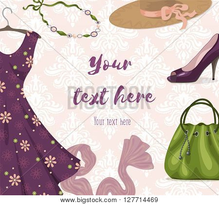 Vector background for clothing retail business or shopping: fancy violet romantic dress, necklace, shoe, handbag, hat, scarf. Trendy style. Youth fashion clothes and accessories. Place for text.