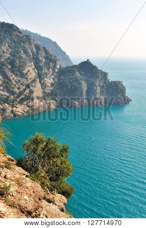 Scenic landscape from a track across the promontory of Portofino
