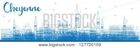 Outline Cheyenne (Wyoming) Skyline with Blue Buildings. Vector Illustration. Business travel and tourism concept with modern buildings. Image for presentation, banner, placard and web site.