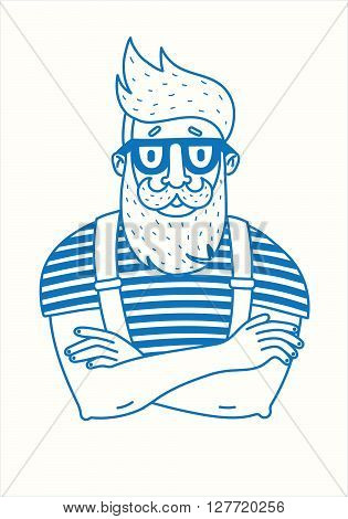 Line drawing of a hipster with a beard.Line drawing of a hipster with a beard.Hipster style, glasses, mustaches illustration background. vector flat template..isolated on white background