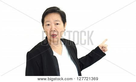 Asian senior business woman shouting and angry abstract loss in profit