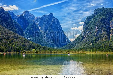 Lake Dobbiaco (Toblach) in the Dolomites Italy - HDR image poster