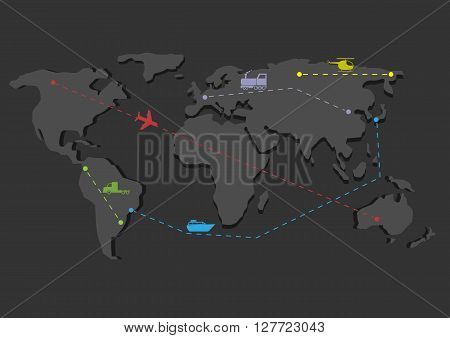 Delivery concept map. Shipping scheme, Travel map, Transportation icons