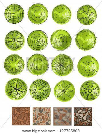 set of treetop symbols, for architectural or landscape design.