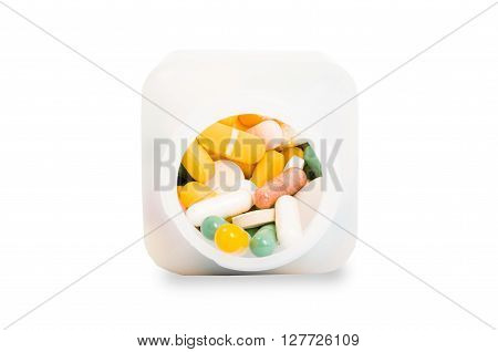 Bottle of pills isolated on white background