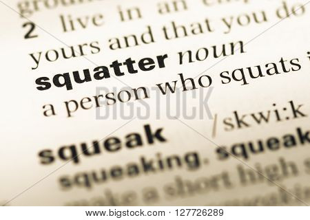 Close Up Of Old English Dictionary Page With Word Squatter.