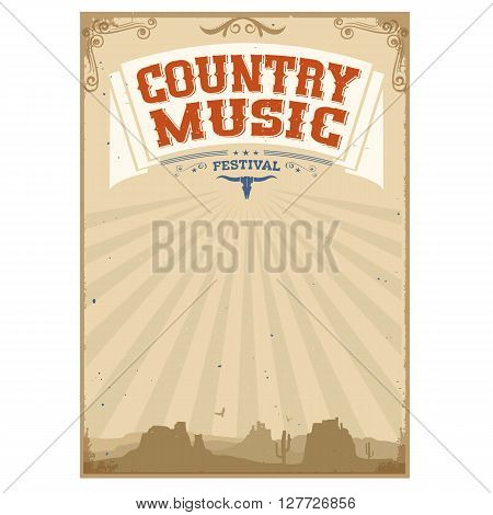 Country Music Festival Background With American Landscape