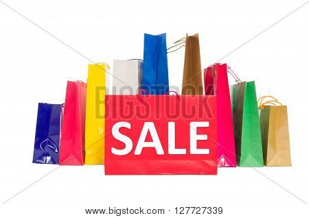 Sale concept using shopping bags isolated on white background