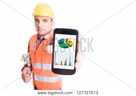 Builder Showing Smartphone With Financial Charts