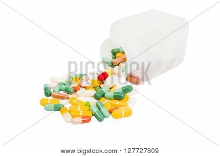 Bottle And Bunch Of Spilled Pills