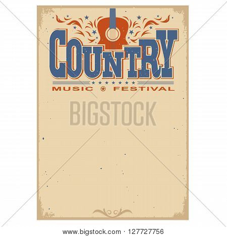 Poster Music Festival Background With Acoustic Guitar Symbol.vector Isolated Poster On White