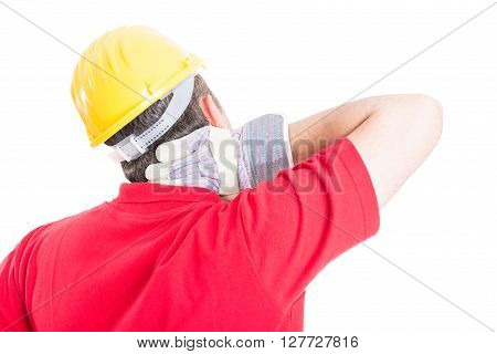 Constructor builder or contractor suffering back neck pain after work stress or accident