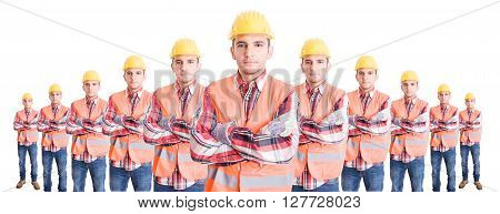 Organized team of builders or construction workers standing with confidence on wide image