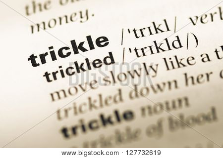 Close Up Of Old English Dictionary Page With Word Trickle.