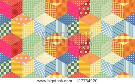 Bright seamless patchwork pattern. Childish quilt from colorful cubes.
